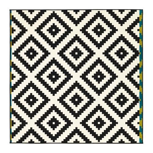 【IKEA/イケア/通販】 LAPPLJUNG RUTA ラップユング ルータ ラグ パイル短, ホワイト, ブラック(d)(60227901)