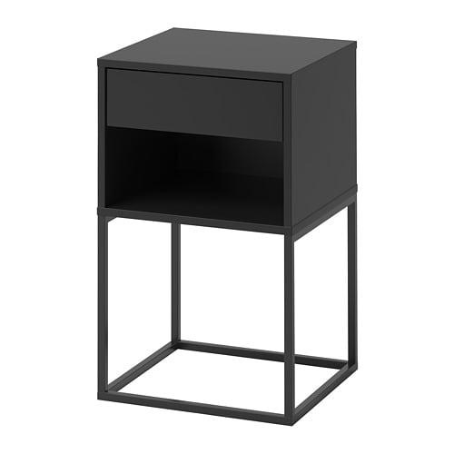 【IKEA/イケア/通販】 VIKHAMMER ヴィークハムメル ベッドサイドテーブル, ブラック(d)(00388973)
