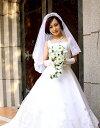 ミドルベール ゴージャスクラシカル ウェディングベール オフホワイト フェイスアップベール 【結婚式/ブライダル】