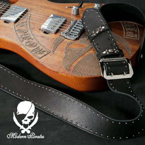 50mm Width Soft Leather Guitar Strap/Side Round Studs