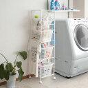ホワイト/国産 ランドリーラック バスケット 洗濯物 収納 アジャスター付 幅39cm