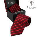 フルボ ネクタイ シルク 豪華 4点 セット チーフ タイバー カフス Furbo design レッド 赤 系 ストライプ 人気 ブランド おしゃれ おすすめ 就職祝い 社会人 男性 誕生日 父の日 ギフト プレゼント