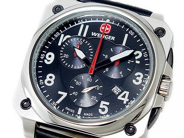 WENGER ウェンガー 腕時計 メンズ Men's 時計 エアログラフ コックピット クオーツ クロノ 77015 100M 防水 ブラック 黒 レザーベルト 人気 ブランド WENGER腕時計 WENGER時計 ウェンガー腕時計 ウェンガー時計 うでどけい おすすめ ウォッチ 男性用 ギフト プレゼント [正規品][新品] WENGER ウェンガー 腕時計 メンズ Men's 時計