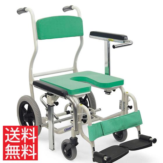 シャワー用車椅子KS12高床スイングアウトノーパンクタイヤ12インチカワムラサイクルフットブレーキ転