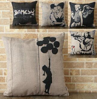 [Banksy Banksy 靠墊] 墊蓋 45 × 45 釐米 Banksy 斯堪的納維亞塗鴉街頭塗鴉藝術靠墊銀禧倫敦墊案例 45 釐米天然亞麻大麻豐富多彩 [免運費] 五個小工具 jubileecushionb3 禮物