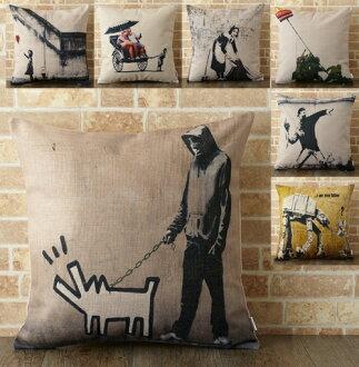 [Banksy Banksy 靠墊] 靠墊蓋 45 × 45 釐米 Banksy 斯堪的納維亞塗鴉街花束麥當勞的塗鴉藝術坐墊禧倫敦墊案例 45 釐米天然亞麻大麻豐富多彩 [免運費] 七個小工具 jubileecushionb5