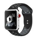 XIHAMA Apple Watch Series 4 Series 3 Series 2 Series 1に対応 替えバンド アップルウォッチ シリコン ベルト交換ストラップ 腕時計バンド 通気 軽量 スポーツバンド (42mm/44mm, ブラック*グレー)