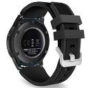Gear S3 Frontier/Classic バンド - ATiC Samsung Gear S3 Frontier/Gear S3 Classic/Moto 360 第二世代 46mm Watch用 ソフト 高級 シリコーン製腕時計ストラップ/バンド 交換ベルト BLACK (GearS2 /S2 Classic/Gear Fit2に対応ない)