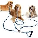 ショッピング犬用 PETBABA(ペットババ) 犬 リード 3匹用 トリプルリード 1.4m 犬用三頭引きリード 多頭飼いに便利 散歩 ロープ 中型犬 大型犬 ペット用品 (ブラウン-ライトブルー)