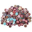150個 装飾ボタン 木製 ソーイング ボタン 2つ穴 ウッドボタン 花柄 アンティーク調 手芸 手作り 丸型 径20mm