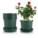 T4U 7号 スリット鉢 プラスチック鉢 プラ鉢 受け皿付き プランター 蘭 観葉植物 バラ ハーブ適用 インテリア 6点セットモスグリーン 直径:22cm