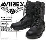 [AVIREX] アヴィレックス(アビレックス) AV-2001 COMBAT コンバットブーツ Black ブラック メンズ&レディース 本革 ミリタリー ショートブーツ サバゲー