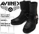 [AVIREX] アヴィレックス(アビレックス) AV-2625 HARRIER Black ブラック メンズ&レディース 本革 リングブーツ ライダースブーツ ミリタリーブーツ ショートブーツ