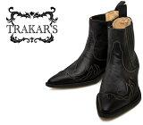 [TRAKAR'S] トラッカーズ 14300 Black×Black ブラック メンズ&レディース 本革 ウエスタンブーツ ショートブーツ