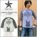 ショッピングギター StarStar(スタースター) RAGLAN TEE [LA0028MR] 七分 Tシャツ メンズ プリントギターツリー【\4,800】【smtb-kd】【RCP】