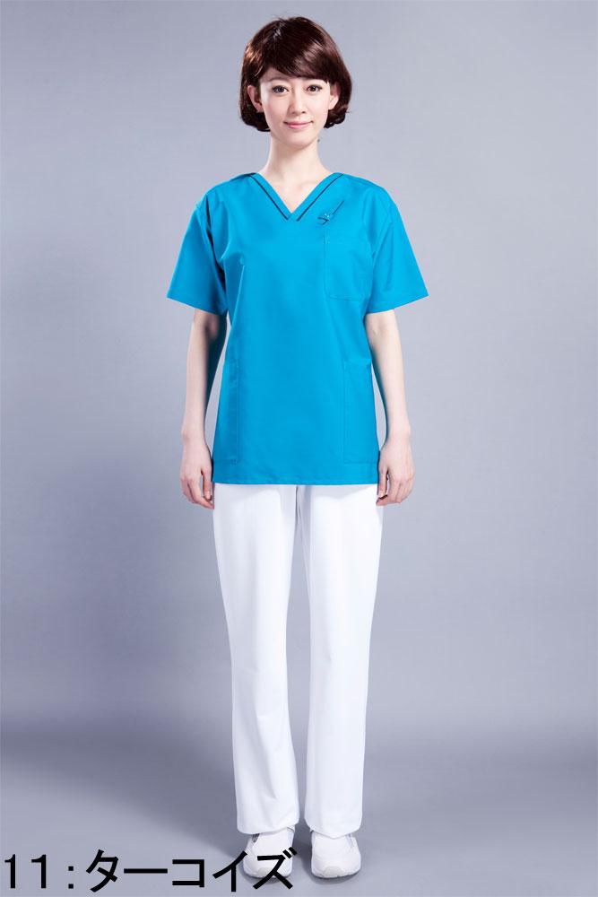 スクラブ 7003SC 白衣 スクラブ白衣 男女兼用 半袖上衣【FOLK】