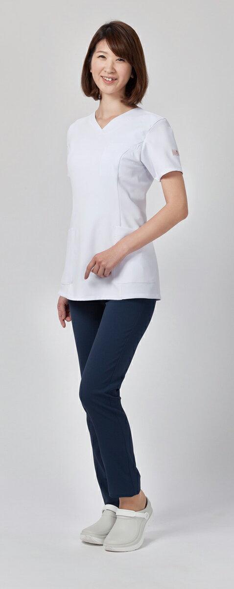白衣 スクラブ 半袖上衣 FOLK×Wacoal(フォーク×ワコール) HI700 半袖スクラブ カラースクラブ