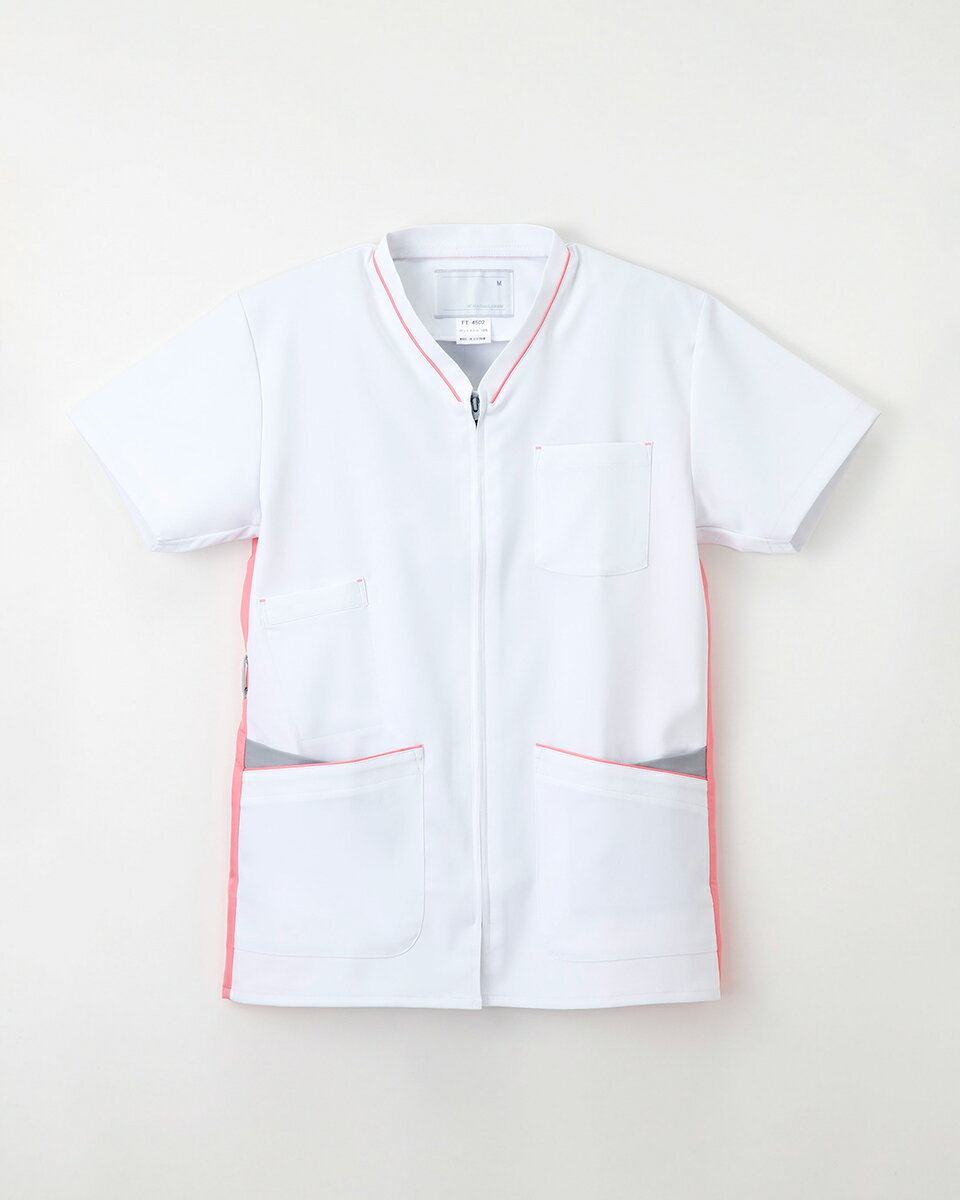 ナガイレーベン スクラブ 白衣 男女兼用 ファスナー開き 半袖上衣 FT-4502