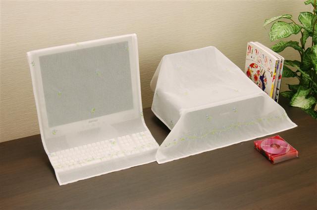 ネコポス(250円)OK【インテリア】【雑貨】パソコン&プリンターカバーセット 刺繍入り