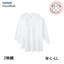 グンゼ グリーンマーク 長袖丸首シャツ 2枚組 GK12086 M L LL GUNZE GreenMark メンズ 綿100%