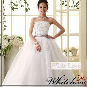 ビジュー スパンコール サテンコードリボン ウエディングドレス プリンセス マーメイド スレンダー エンパイヤ