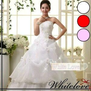 タッキングスカート オーバー スカート フラワー モチーフ ホワイト ウエディングドレス