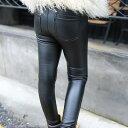 キッズ スリム PUレザー パンツ フェイクレザー ボトムス 女の子 可愛い キュート 子供 ジュニア ブラック 黒色 90サイズ 100サイズ 110サイズ 120サイズ 130サイズ