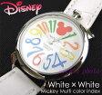 【在庫処分】Disney ミッキーマルチカラーインデックス腕時計(ホワイト×ホワイト)