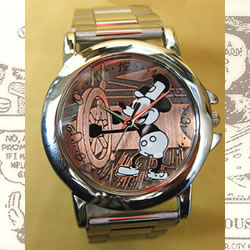 世界限定オールドミッキー高級牛革チェンジベルト付き腕時計