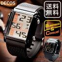 デジタルウォッチ 腕時計 メンズ レディース DECOS 男性用 紳士用 うでどけい おしゃれ シンプル 大き目 文字 スポーツ ファッション メンズ腕時計 腕時計メンズ 黒 ブラック 見やすい