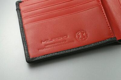 Milagroパンチングレザー二つ折り財布BT-WS16財布メンズ男性Milagroミラグロ二つ折り財布二つ折りイタリアレザーパンチングレザーコンパクトカード小銭レッドネイビー高級小銭入れカードケース大人