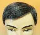部分かつら、白髪50%、左パート、カット済み、人毛と耐熱人工毛のミックス、約20×20cm