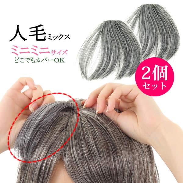 ウィッグヘアピース人毛ミックス白髪しらが総手植え円形脱毛症部分ウィッグポイントウィッグ増毛送料無料つ