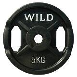 黒ラバープレート5kg[WILD FIT ワイルドフィット] ダンベル バーベル ウエイト 筋トレ トレーニング 腹筋 大胸筋 上腕筋 ベンチプレス