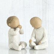 兄弟 姉妹 双子 ペア 子供 お揃い 置物 おしゃれ 彫刻 白 ワンピース 癒やしグッズ かわいい 人形 インテリア オブジェ フィギュア ウィローツリー彫像 Two Together