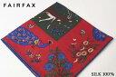 (フェアファクス) FAIRFAX オリエンタルプリントのポケットチーフ ワイン、グリーン系 シルク100% イングランド製( 送料無料 )