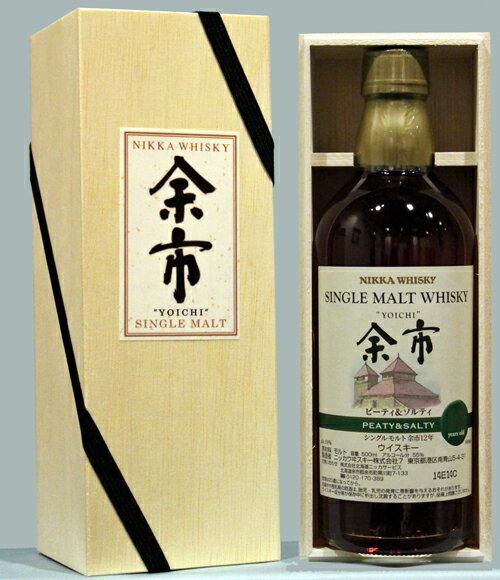 NIKKA ニッカ シングルモルト余市 ピーティー&ソルティー12年 高級桐箱入り500ml アルコール55% 限定品single malt whisky yoichi 12yo peaty and salty Wood BOX