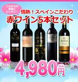 これからの季節にピッタリ!!乾杯してうきうきしちゃいましょ!情熱!スペインこだわり赤ワイン5本セット