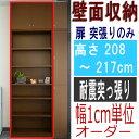 壁面収納 薄型奥行19cm高さ208〜217cm幅45〜59cm 標準棚板(厚さ1.7cm)