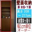 薄型壁面DVD棚 DVDラック 壁面家具 すっきり高さ208〜217cm幅45〜59cm奥行19cm ブラック 標準棚板(厚さ1.7cm)