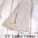 綿100%平メッシュショート丈UVカット手袋(アームタイプ ドット柄)