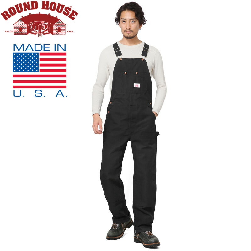 割引クーポン対象!★Round House ラウンドハウス 17RH383 米国製 HEAVY DUTY DUCK BIB オーバーオール BLACK