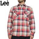 【アウトレットアイテム】【クーポン対象外】【WIP03】Lee リー L/S ツイル ワークシャツ DARK RED 【19740-106】ウォッシュ加工が目を惹くツイルワークシャツヴィンテージディティール満載の逸品