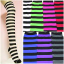 Pop color horizontal stripe overknee-sock [knee high leg]