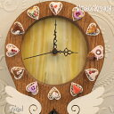 壁掛け時計【Angel Oak・エンジェルオーク】ステンドグラス と フェイクスイーツ の 振り子時計 | かわいい 可愛い 天使 ミニチュア ケーキ