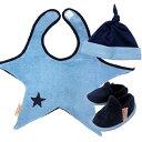 【送料無料】】3点セットで可愛いです♪ギフトボックスに入っているのでプレゼントに喜ばれます!Lara Boyle(ララボイル)星型ビブ【3点セット】ビブ&ハット&ブーティ/ネイビー×ブルー[lyon-coolstar-set]