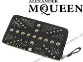 【送料無料】Alexander McQueen アレキサンダー マックイーン ジップアラウンド長財布 ヘビースタッズ ブラック レザー 小銭入れあり 387444-BPF5N-1000 ブランド/メンズ/男性用