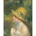 【送料無料】世界の名画シリーズ、プリハード複製画 ピエール・オーギュスト・ルノアール作 「麦わら帽子を被った若い娘」【代引不可】