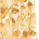 【送料無料】間仕切りカーテン 【巾60-110×丈135cm/オレンジ リーフ柄】 タッセル・フック・リングランナー付き 『ラウンドリーフ』
