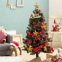 【送料無料】デラックス クリスマスツリーセット 【レッド×ゴールド】 高さ120cm LEDイルミネーション・豪華オーナメント付 組立片付け簡単
